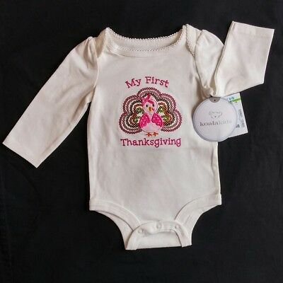 6feb99176110 Baby Girl Koala Kids My First Thanksgiving 0-3M Bodysuit Clothes Holiday  Costume