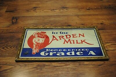 Early Arden dairy Milk sign road reflective  Antique Collectable Dairy