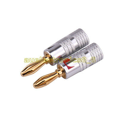 2pcs 1pairs 24K Gold Plated Nakamichi Speaker banana plug Audio Jack connector U