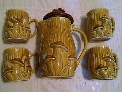Vintage Royal Sealy Mushroom Tea Coffee Pot 4 Cups Mugs Set