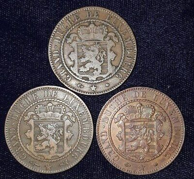 3 Coins from Luxembourg.  1865-1870.   No Reserve!!