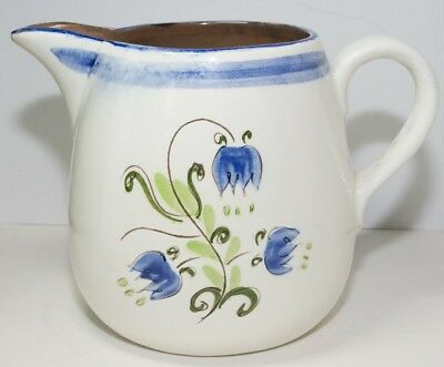 Vintage Stangl Pottery Milk Pitcher Blue Tulip Pattern 5.5 Inches Tall