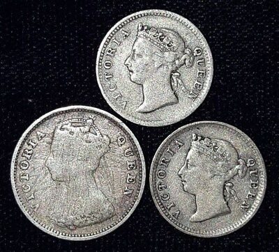 3 Silver Coins from Hong Kong.  1888-1901.   No Reserve!!