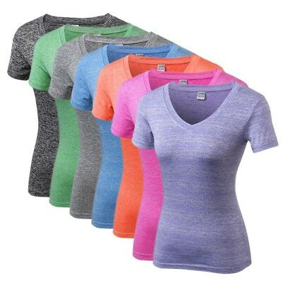 Sports Women Quick Dry Gym Workout T-Shirt Short Sleeve Yoga Fitness Tops USA