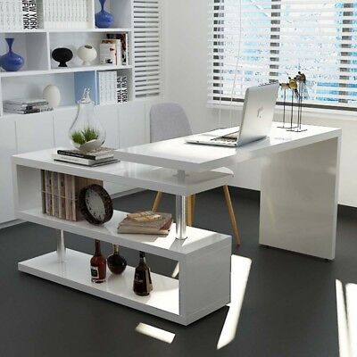 White High Gloss L Shaped Computer Desk Executive Home Office Workstation Table