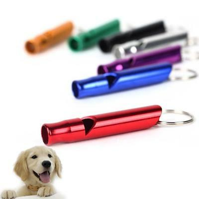 2 Pcs Aluminium Dog Puppy Pet Walking Coloured Recall Training Whistle Pro.