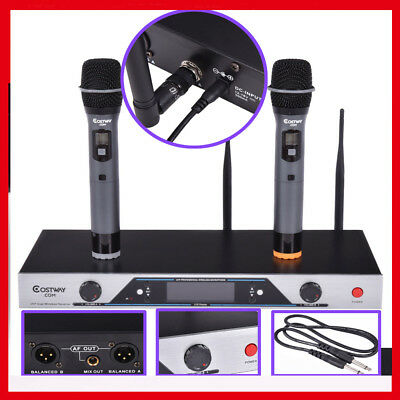 Audio 2 x 200 Channel UHF Wireless Hand Held Microphone Mic System LCD Display