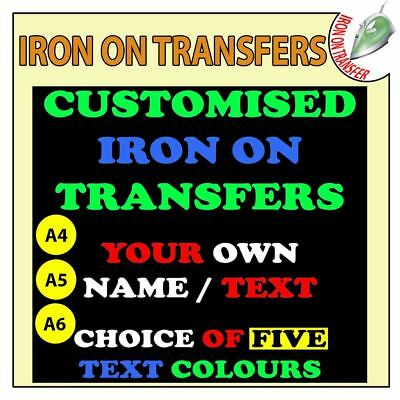 Personalised Custom Iron On T Shirt Transfer Any Text Your Name Design Vinyl