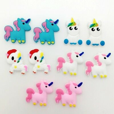 10Pcs Cute Unicorn PVC Shoe Accessories For Beach Clog Wristbands Birthday Gift