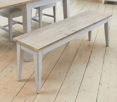Baumhaus Signature Dining Bench (150) - Solid Wood Distressed Grey Painted Limed