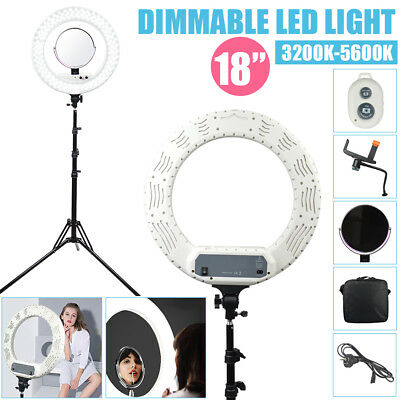 "18"" Dimmable Diva LED Ring Light 48W Mirror & Stand Make Up Studio Photography"