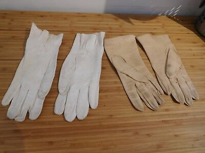 FOUND* TWO PAIR OF ORIGINAL post 1940's LADIES  LEATHER  GLOVES