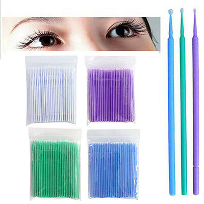 100 Pcs Micro Brush Disposable Microbrush Applicators Eyelash Extensions Swab<
