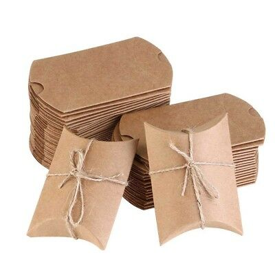 20x Craft Paper Bags Box Gift Cake Bread Candy Wedding Party Favor Bag Pillow<