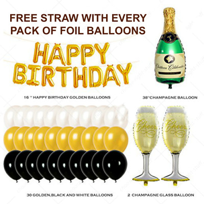 "38"" Giant Champagne Bottle Glass Foil Balloons Self inflating Happy Birthday bal"