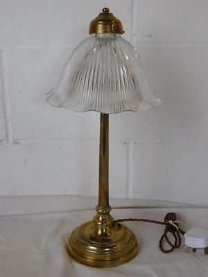 A Good Sized Genuine Antique Brass & Glass Desk Or Side Lamp Light-Nouveau Style
