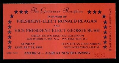 1981 Ronald Reagan/George Bush The Governors' Reception Ticket
