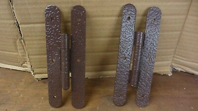 TWO *2*  Heavy Duty Hammered Metal Door Hinges Flush Mount Gate/Barn Cabinet