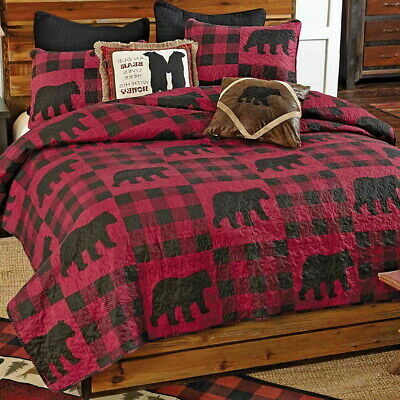 ASPEN HEIGHTS 3pc Full Queen QUILT SET BLACK BEAR RED IVORY PLAID LODGE CABIN