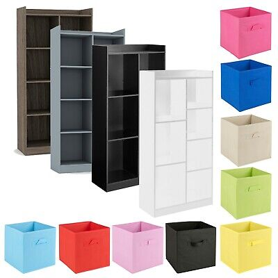 Tall Wooden 7 Cube Bookcase Shelving Display Storage Unit Cabinet Shelves NEW