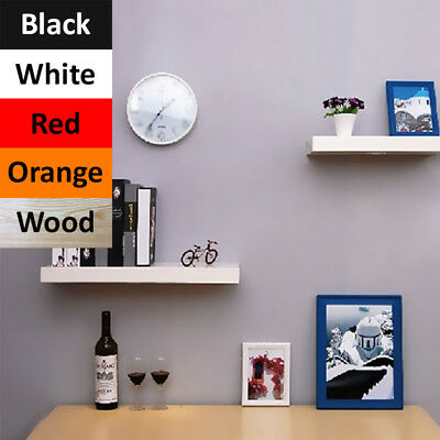 Two 40cm Floating Wall Shelves Storage Decor Display Unit Book Shelf Mount Rack