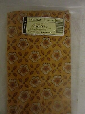 Longaberger Golden Fields Napkins Set Of Four - New