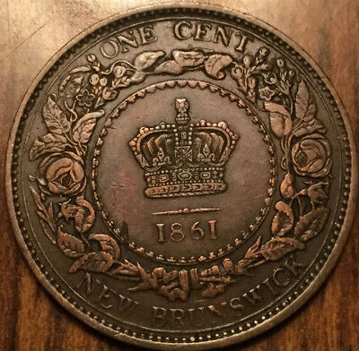 1861 New Brunswick Large One 1 Cent Penny