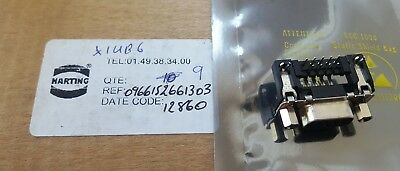 Lot Of 9 Harting 0966152661303 D-Sub Female 9 Pin Connector   (U1.3B2)