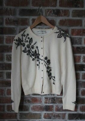 Marisa Christina Vintage Ivory Lined beaded Sweater Cardigan wool blend M