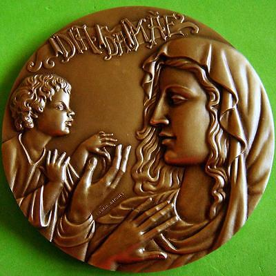 "Madonna with Baby Jesus Mother & Child HUGE HIGH RELIEF Bronze Medal 4"" 10.9 oz"