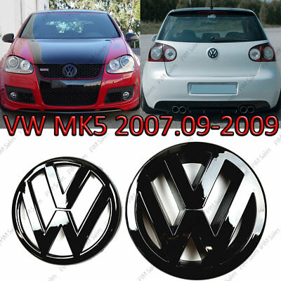 VW Golf Mk5 Front Rear Set Pair Black Gloss Badge Logo Boot Rear Glossy Emblem