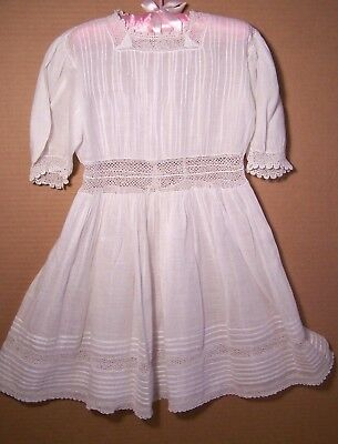 Antique Victorian white cotton little girl baby dress or Christening