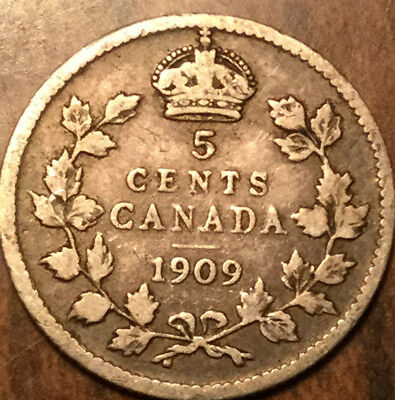 1909 CANADA SILVER 5 CENTS - Pointed leaves
