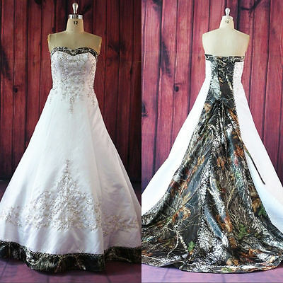 2018 New Camo Wedding Dresses Satin Lace-up Custom-Made Bridal Gowns Plus Size