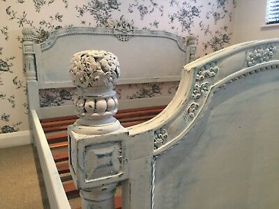 Solid Mahogany, French chateau style ornate carved double bed