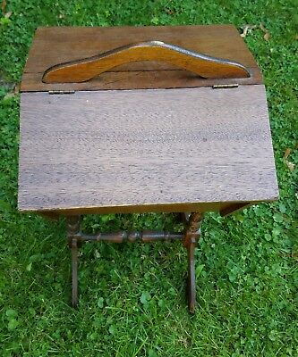 Vintage Wooden Sewing Box Stand Cabinet w/Flip Sides Top
