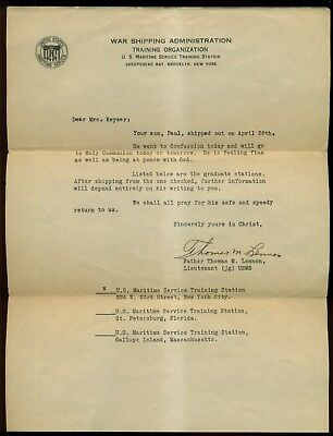 1940's War Shipping Administration Letter to Mother from Chaplain Father Lennon