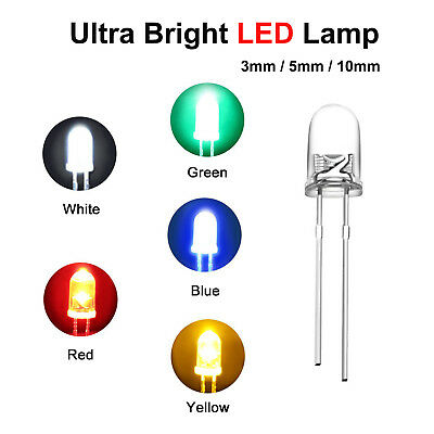 LED Ultra Bright Diode Lamp 3/ 5/ 10mm White,Red,Blue,Yellow,Green,Pink 10-50pcs