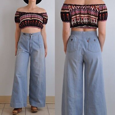 70s Levi's Orange Tab Bell Bottom Jeans // Vintage Wide Leg Levi's Denim 27 x 29