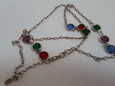 Sterling silver long multi coloured crystal necklace