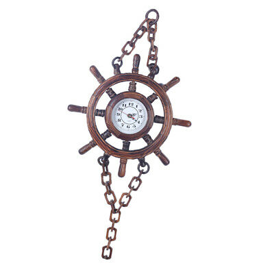 Vintage Wooden Wall Clock Hanging Chain Clock for Home Office Bar Pub Decor