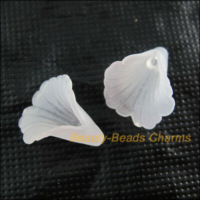 20 New Acrylic Charms Plastic Horn Flower Spacer Beads End Caps White 18mm