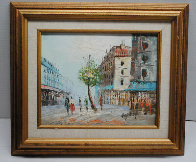 Vintage Caroline Burnett Oil Painting on Wood SIgned Parisian Theme Art #2