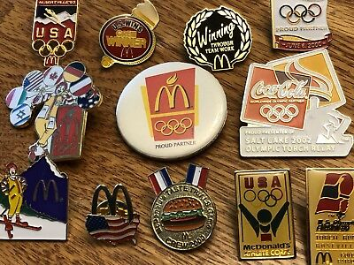 12 McDonald's Olympic / Sport Collector Pins and Button