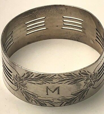 """Antique Napkin Ring, Sterling Silver,Pierced and Etched Design, 7/8"""""""