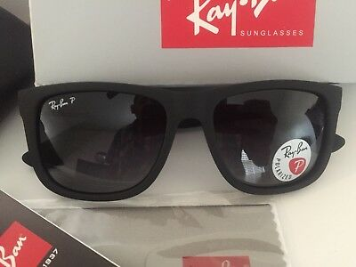 0ba8e2f35a ... switzerland ray ban rb4165 justin matte black polarized grey gradient  lens 34e60 8573f