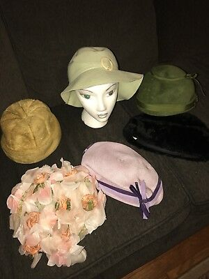 Vintage Lot of 6 Ladies Hats in Various Styles 1920's, 1930's & 40's