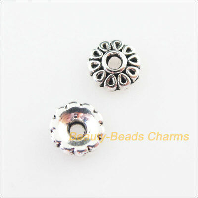 Beads Jewelry & Accessories 40pcs Tibetan Silver Star Flower End Bead Caps Connectors 8.5mm