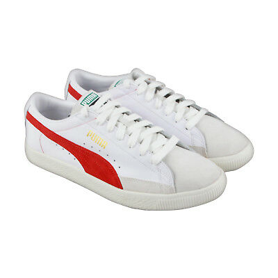 Puma Basket 90680 Mens White Leather Lace Up Sneakers Shoes