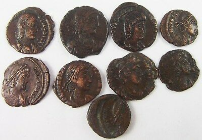 Roman Empire, Group Of 9 Bronze Coins